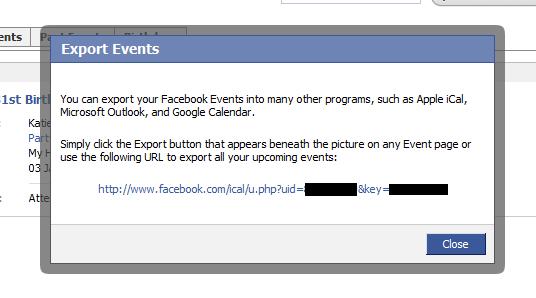 facebook calendar export link