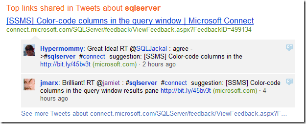 bing twitter search results for sqlserver