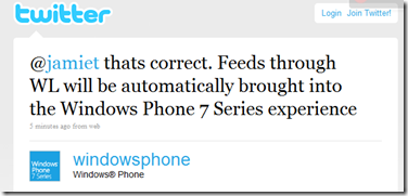 windows live windows phone tweet