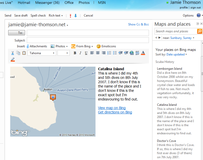 Bing Maps My Places Hotmail